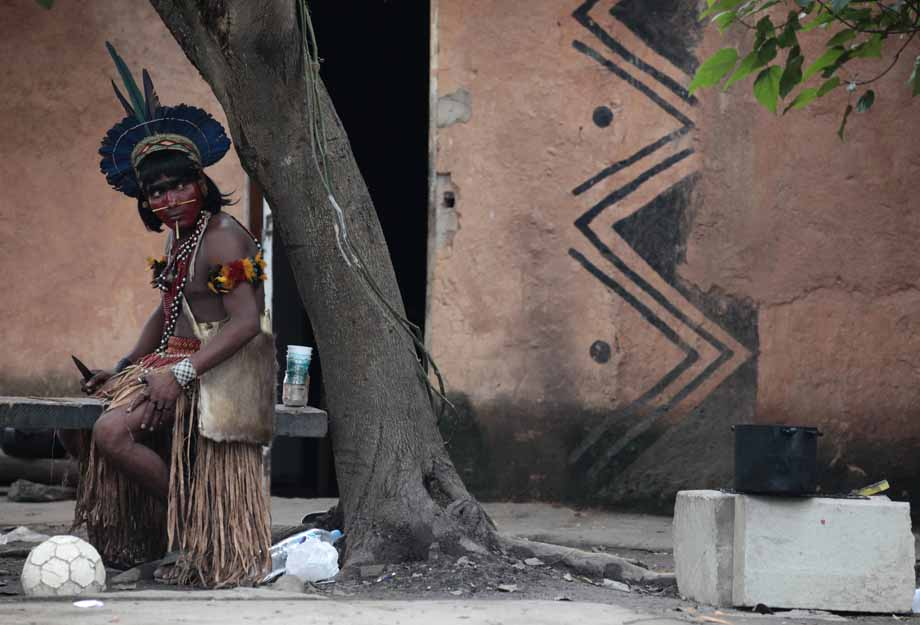 A native Indian looks on at the Brazilian Indian Museum in Rio de Janeiro