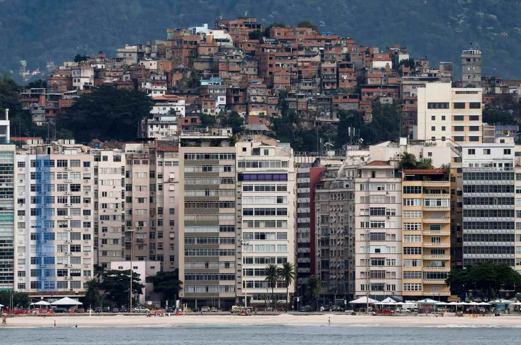 General view of Rio de Janeiro with Copacabana beach and Pavao-Pavaozinho slum in the background